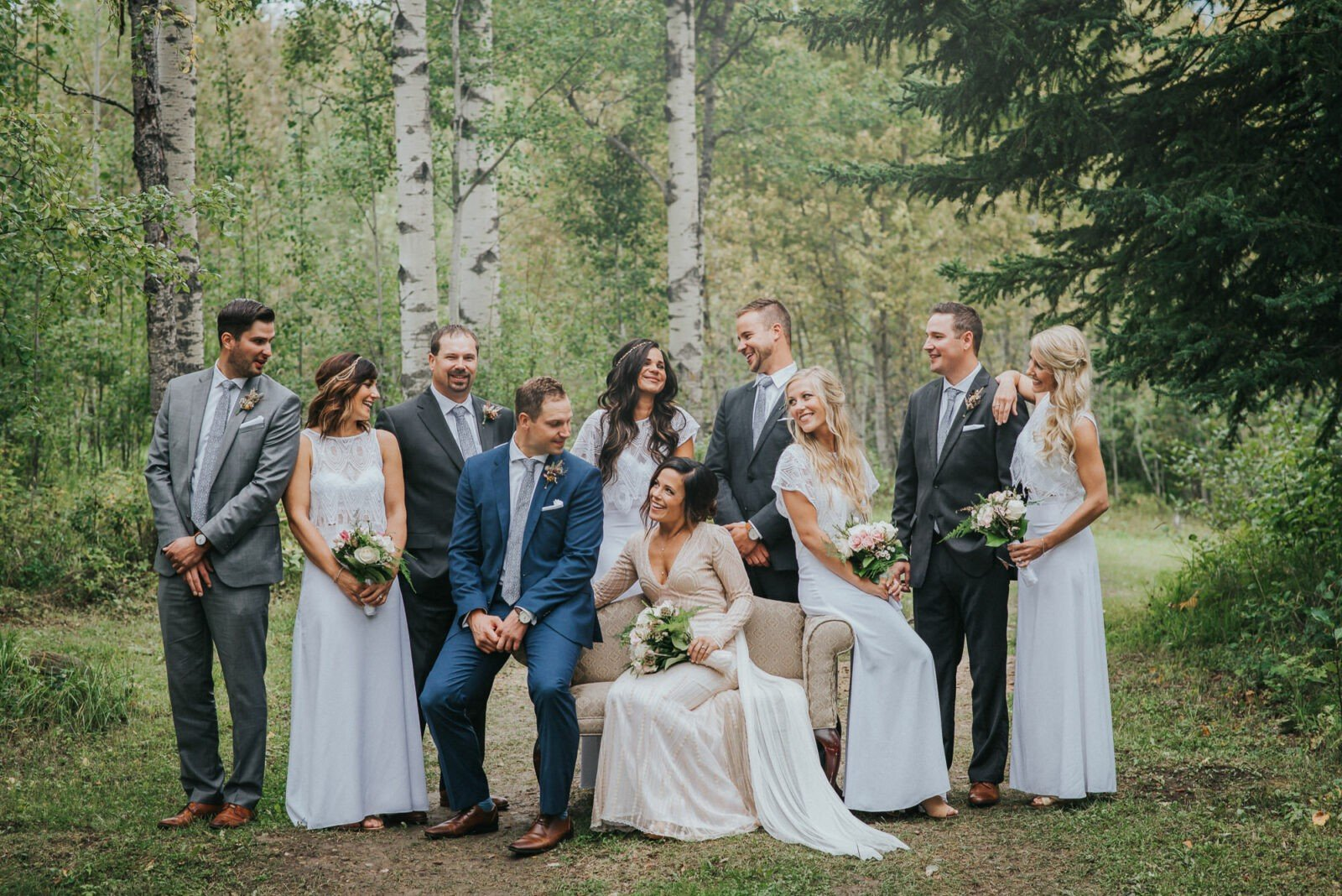 Beautiful Woodland Wedding Party