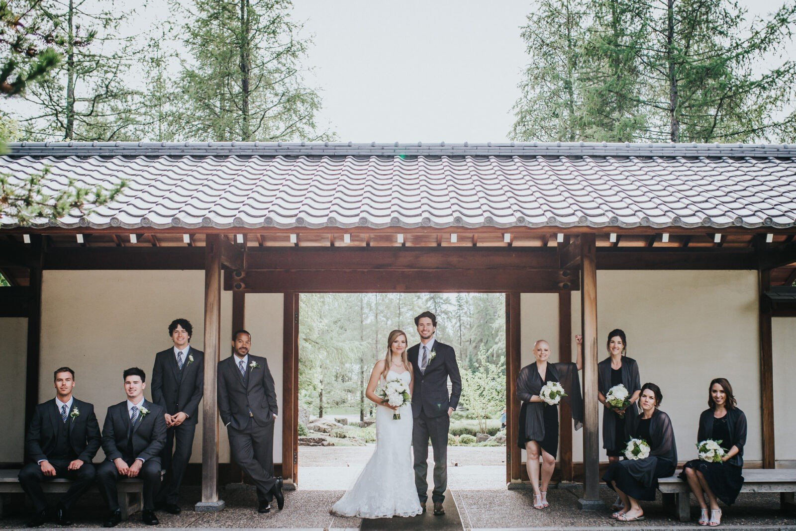 Wedding party photography at Devonian Botanical Gardens