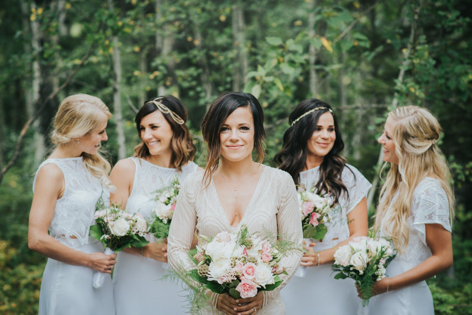 Woodland bridal party
