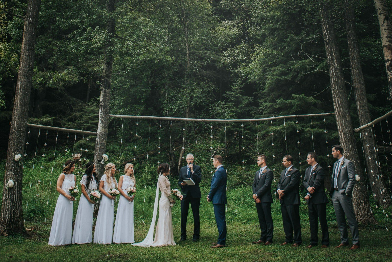Rain lets up for a beautiful woodland wedding.
