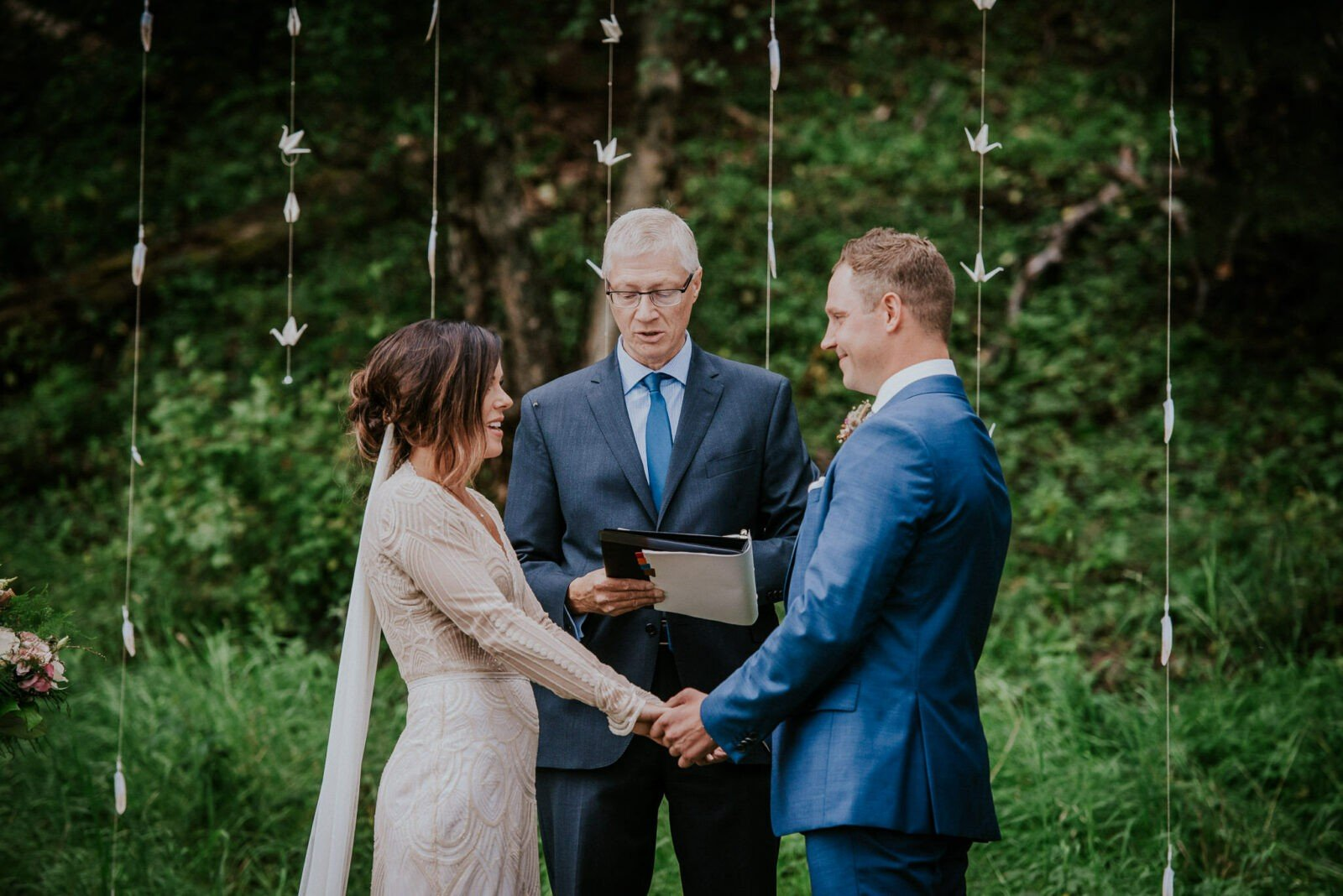 Woodland wedding ceremony.