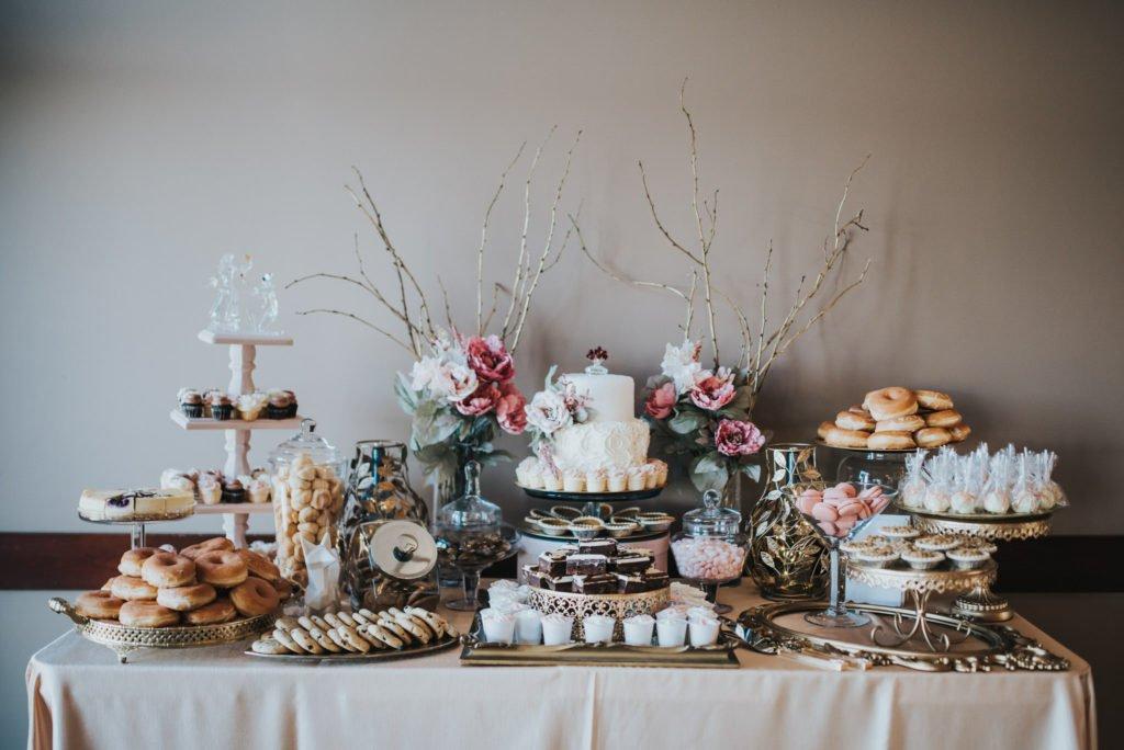 beautiful wedding cake and desert