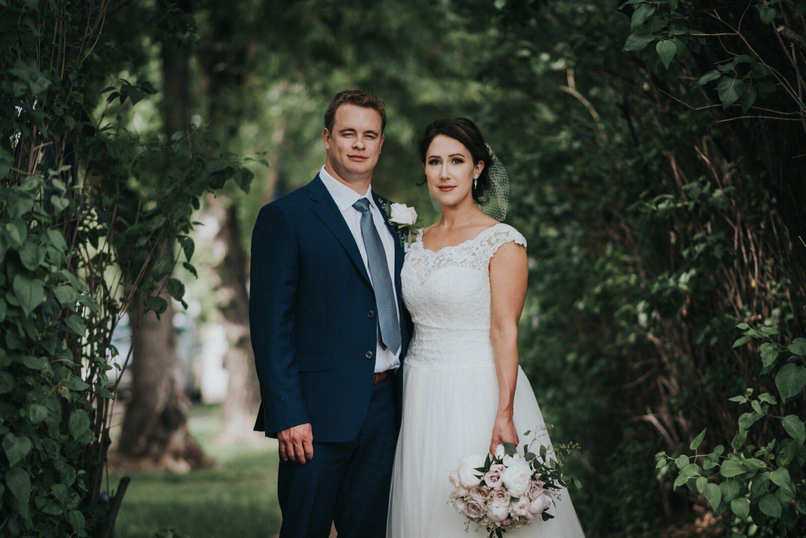 summer wedding bride and groom