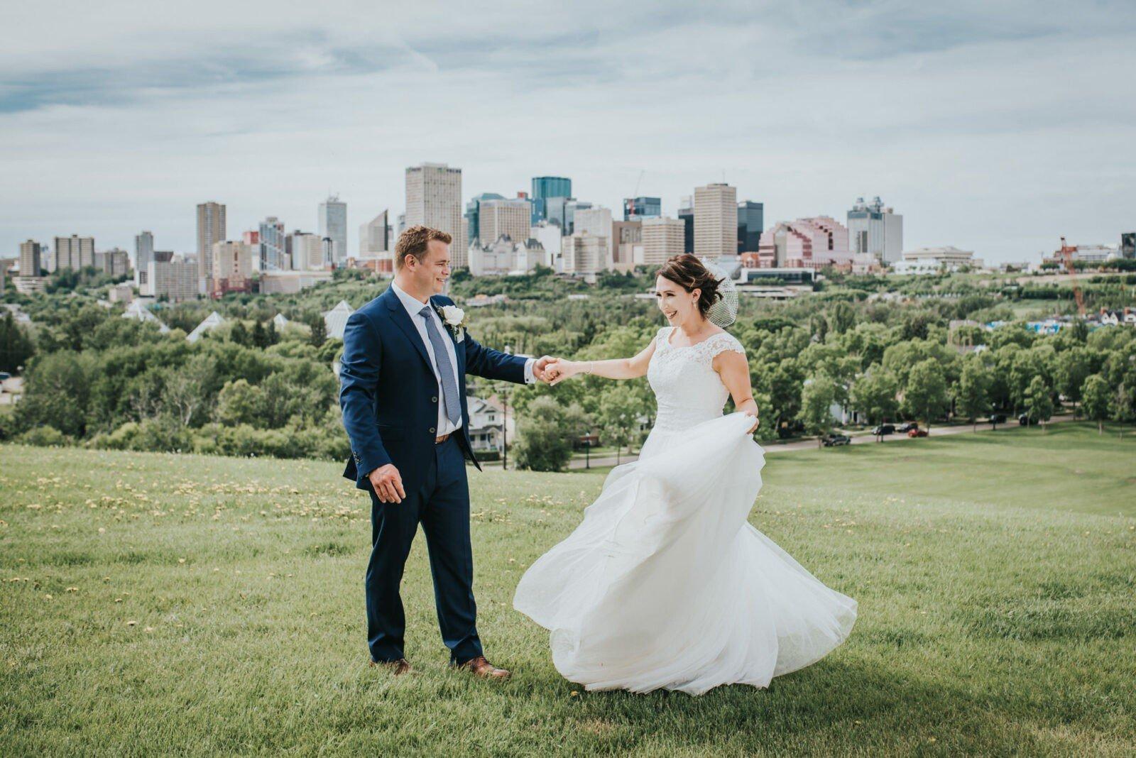 edmonton skyline bride and groom